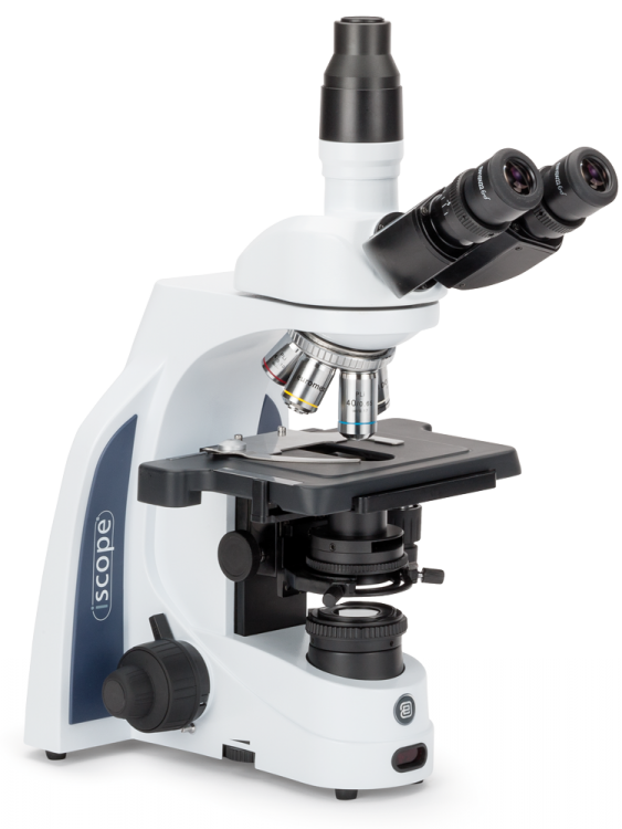 EUROMEX, iScope binocular microscope with EWF10x/20 mm eyepieces and E-Plan 4/10/S40/S100x oil objectives